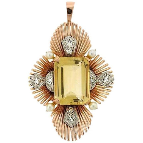 RAYMOND YARD Art Deco 1940 14k Gold Platinum Citrine Diamond Brooch Pin Pendant