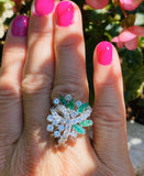 Vintage 18k Gold Retro 3.00ct Emerald Diamond Cluster Ring