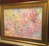 "KADLIC Abstract Marble Pinks Yellow Original Acrylic Painting Gold 24"" Frame"