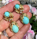 Estate 14k Gold Turquoise Cabochon Diamond Dangle Drop Earrings (Ring Available)