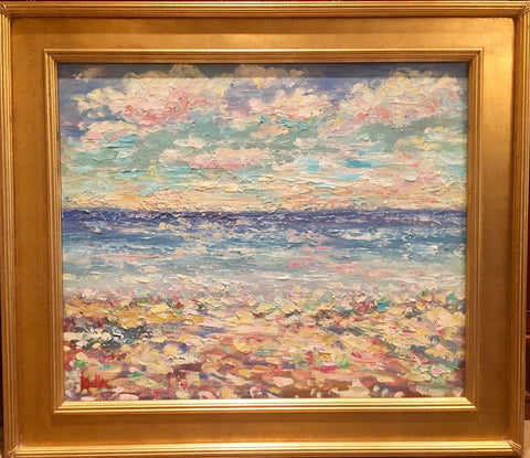 KADLIC Abstract Beach Seascape Impasto Original Oil Painting Gold Frame 24
