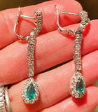 Vintage Estate 18k Gold 5.60ctw Emerald Diamond Halo Pear Dangle Drop Earrings