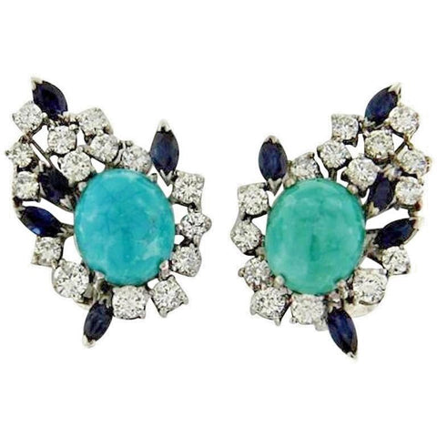 Estate Vintage 2.50ct Diamond Turquoise Sapphire 18k Gold Clip Earrings VIDEO
