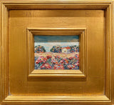 KADLIC Poppies Landscape Tuscany Original Oil Table Painting Gold Gilt Frame 11""