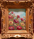 KADLIC Floral Poppies Flowers Original Oil Painting 8x10 Gold Gilt Leaf Frame