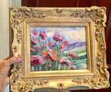 "KADLIC Tuscany Poppy Landscape Original Oil Painting 13x15"" Gold Gilt Frame"