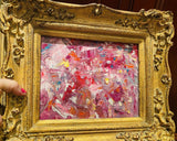 KADLIC Original Oil Painting Abstract Modern Chunky Impasto Gold Gilt Frame 15""