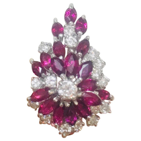 Vintage Mid Century 1950s G/VS1 5 Ct Ruby Diamond Cluster Spray Cocktail Ring