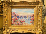 "KADLIC Floral Wildflowers Landscape Original Oil Painting 15"" Gold Gilt Frame"