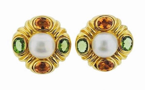 "Stunning 1980s 18kt Gold Mabe Pearl Citrine Peridot Gemstones Drop Earrings 1""+"