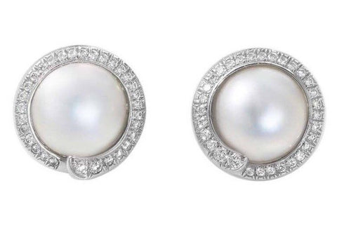 Rare $9000 Platinum Tiffany & Co. 0.85ct VS Diamond Mabe Pearl Clip Earrings