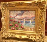 KADLIC Art Impasto Oil Painting Flowers Sailboats Seascape Gold Frame 8x10