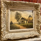 Vintage 1950s Retro Midcentury English Cottage Signed Landscape Oil Painting