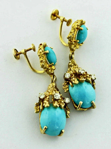 Retro Freeform Vintage Brutalist 14K Gold Turquoise Diamond Dangle Earrings