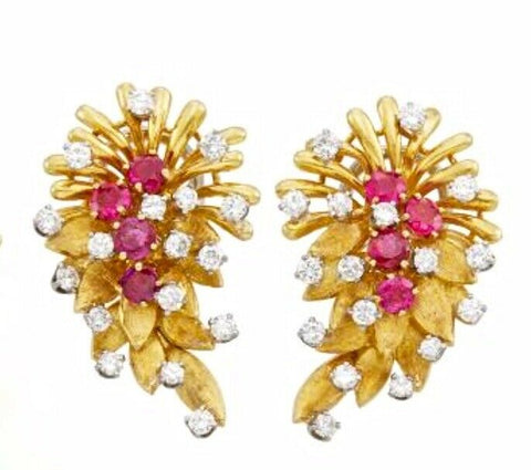 Vintage Art Deco French Heavy 18k Gold Ruby VS Diamond Earrings DES EN FRANCE
