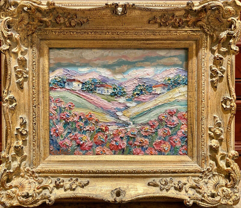 KADLIC Original Oil Painting Abstract Tuscany Impasto Gold Gilt Frame 10""