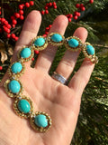 Heavy Vintage Estate 30ct 14k Gold Turquoise Cabochon VS Diamond Bracelet