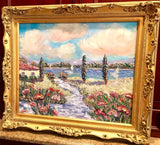 "24x20"" Riviera Beach Seascape KADLIC Original Oil Painting Art French Gold Frame"