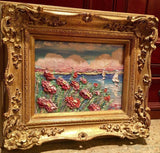 "KADLIC Poppies Poppy Lake Seascape Original Oil Painting 13x15"" Gold Gilt Frame"