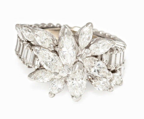1950s Deco Vintage 14k Gold Estate 4.00ct Marquise Baguette Diamond Cluster Ring