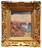 "KADLIC Red Poppies Poppy Seascape Original Oil Painting 13x15"" Gold Gilt Frame"