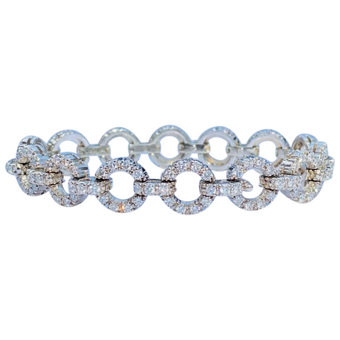 Vintage Jabel 18k White Gold 5.00 Carat F VS Diamond Bracelet