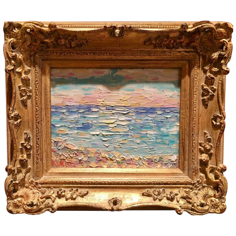 KADLIC Beach Seascape Riviera Original Oil Table Painting Gold Gilt Frame 15""