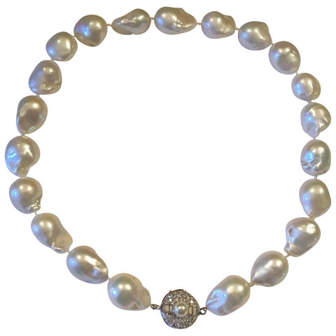 Stunning Estate 14k Gold Baroque South Seas Pearl Necklace VS Diamond Clasp
