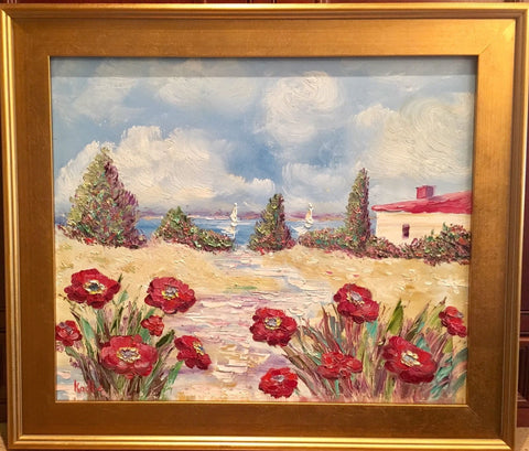 "KADLIC Red Poppies Poppy Seascape Original Oil Painting 20x24"" Gold Gilt Frame"