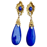 Vintage Estate OSCAR HEYMAN 18k Gold VS Lapis Diamond Drop Pendant Earrings