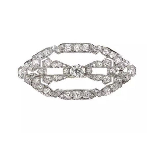 Stunning 1940s Retro Art Deco 4.00 ct G/H VS Diamond Platinum Pin Brooch Pendant
