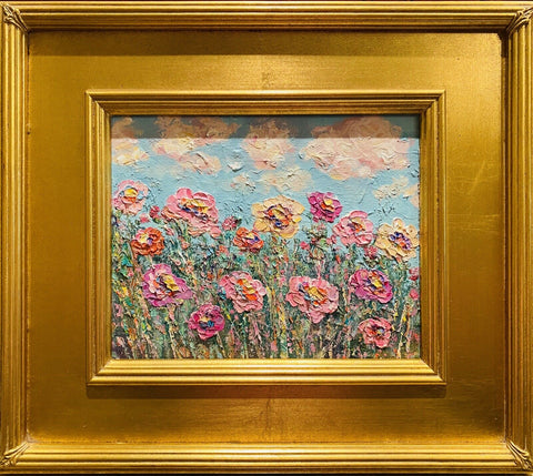 "KADLIC Impasto Floral Still Life Wild Flowers Gilt Ornate Gold Wood 15"" Frame"