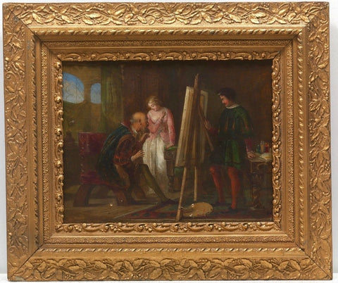 Antique 19th Century Original Oil Painting, Lady Art Studio