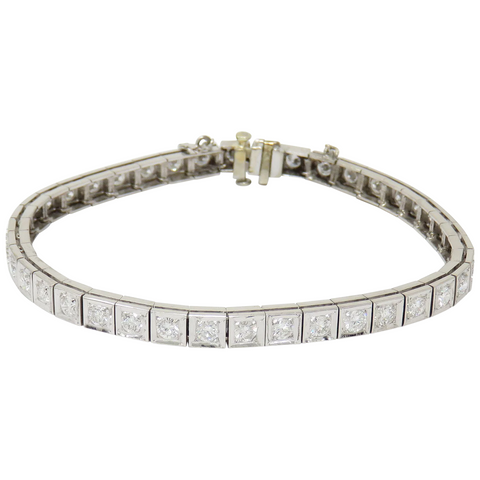 Midcentury Deco Estate 1940 1950s 14k Gold 4ct VS Diamond Line Tennis Bracelet