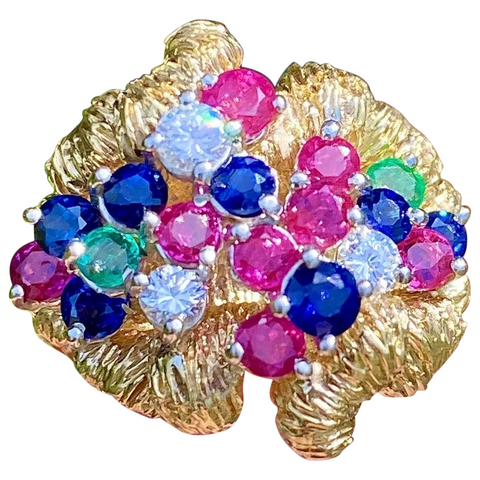 Free Form 1970's Vintage Estate 18k Gold Ruby Emerald Sapphire Diamond Ring