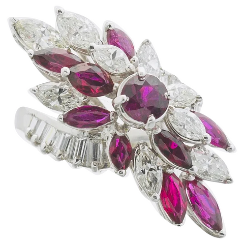 Vintage Midcentury 1950s Retro Platinum 4.50ct Ruby VS Diamond Ring