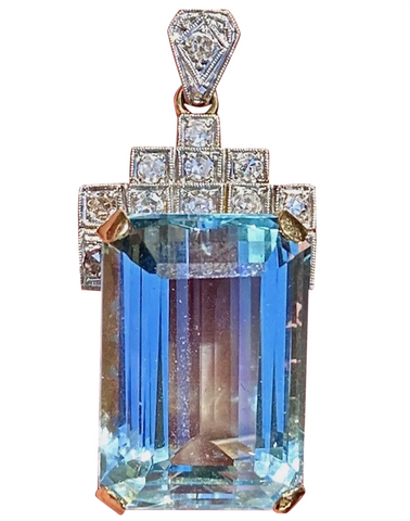 Antique Vintage Art Deco 14K Gold Platinum 21ct Aquamarine Diamond Pendant