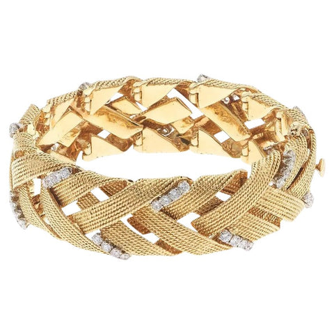 Vintage Estate David Webb 18k Gold 3.00 ct G VS Diamond Woven Bracelet