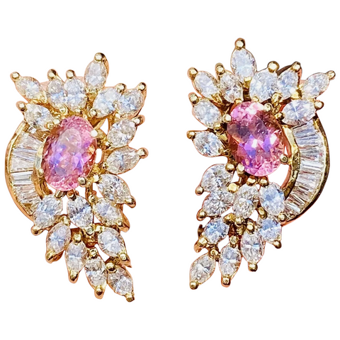 Vintage Estate 14k Gold 5ct Pink Tourmaline Diamond Baguette Marquise Earrings