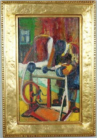 Mid Century Modern Original Oil Figures Painting Art Gilt Gold Frame
