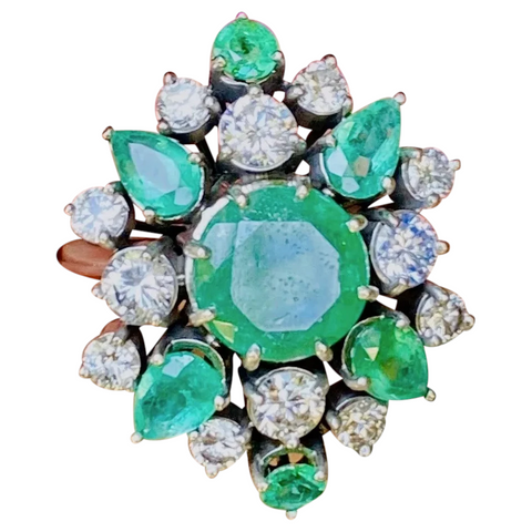 WOW Vintage Retro 1950s Estate 18k Gold 4.00ct Emerald Diamond Cluster Ring