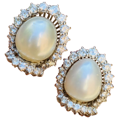 Striking 18k Gold Vintage Estate South Sea Pearl 2.20ct VS Diamond Drop Earrings