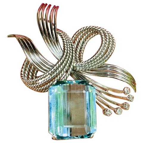 Vintage 1950s Retro Midcentury 18k Gold 7.41 ct Diamond Aquamarine Brooch
