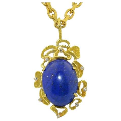 Mid Century Vintage 18k Gold Retro 1970 Lapis Lazuli Diamond Necklace Pendant
