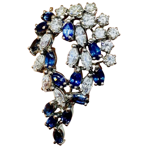 Art Deco Antique 5.00ct Sapphire Marquise Diamond 18K Brooch Pendant Necklace