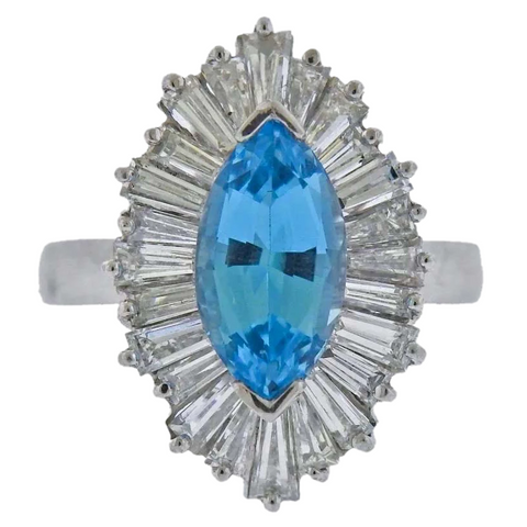 Vintage Retro Deco Platinum Marquise Aquamarine Diamond Baguette Cocktail Ring