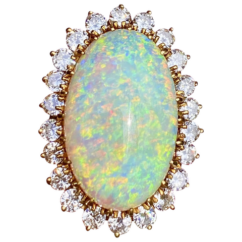 Vintage Estate 18k Gold 18ct Opal 1.40ct Diamond Halo Ballerina Ring