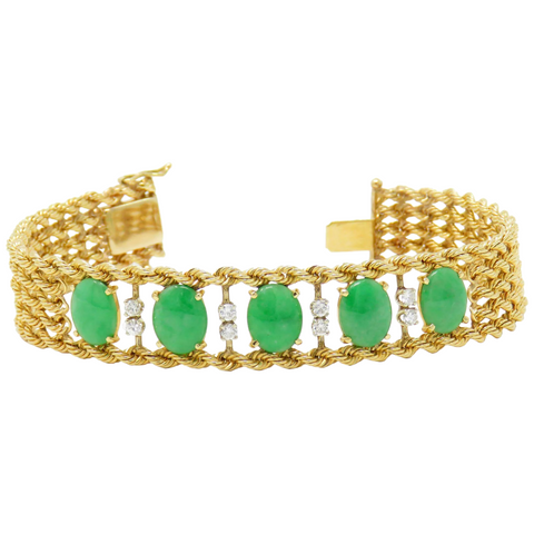 Estate Vintage GIA Certified 14K Yellow Gold Jadeite A Jade Diamond Bracelet