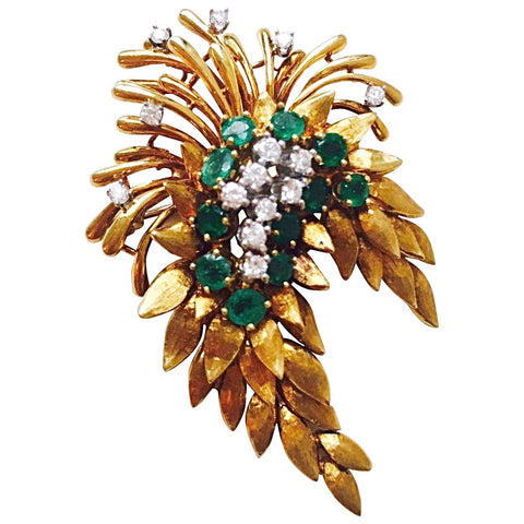 "WOW Estate ""Des En France"" 18K Yellow Gold 4.84 Emerald G VS Diamond Pin/Brooch"