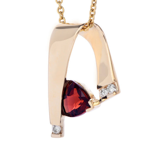 Vintage Estate 1.15ct Ruby Red Rubellite Diamond Necklace Slide Pendant Necklace